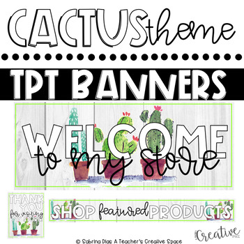 Tpt Store Banner {Green Cactus Theme}