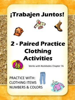 Trabajen Juntos - La Ropa Paired Practice Activities for Clothing in Spanish
