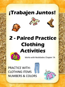 Trabajen Juntos - La Ropa Paired Practice Activities for Clothing in Spanish