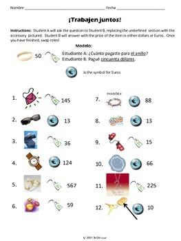 Trabajen Juntos - Paired Practice Activities for Accessories & Stores in Spanish