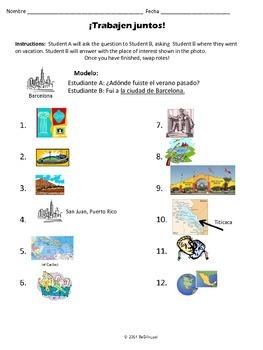 Trabajen Juntos Where did you visit? Preterit, Locations & Activities in Spanish