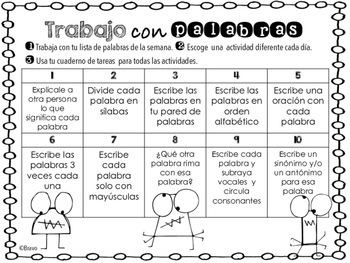 Trabajo con Vocabulario/ Vocabulary Work