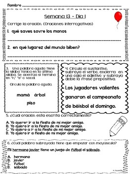 Trabajo diario de lenguaje - Semanas 13 - 16