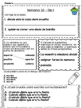 Trabajo diario de lenguaje - Semanas 29 - 32