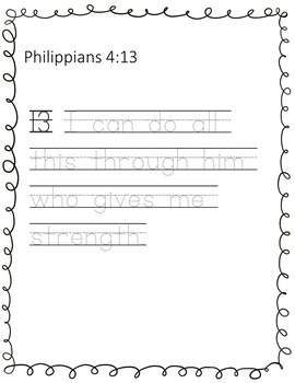 Traceable  Bible Verses for Copy Work