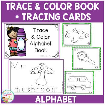 Trace & Color Alphabet Book + Tracing Cards Fine Motor Skills