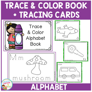 Trace & Color Alphabet Book + Tracing Cards Fine Motor Skills