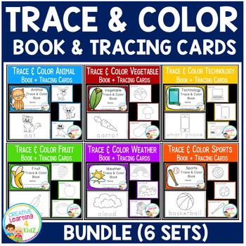 Trace & Color Books + Tracing Cards BUNDLE Fine Motor Skills