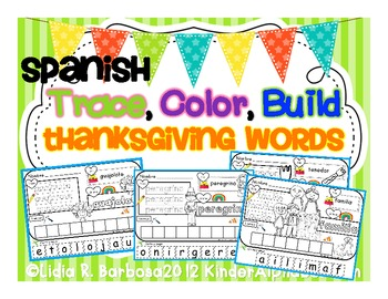 Trace, Color, Build Thanksgiving Words- Spanish