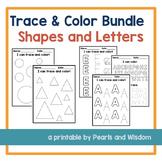 Trace & Color Bundle | Shapes and Letters