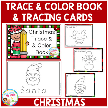 Trace & Color Christmas Book + Tracing Cards Fine Motor Skills