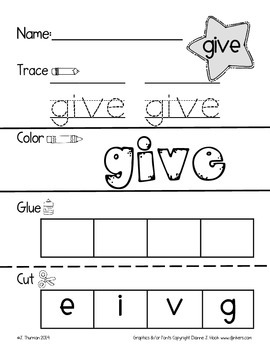 Trace, Color, Cut & Glue 1st Grade Sight Words