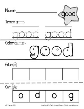 Trace, Color, Cut & Glue Primer Sight Words