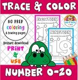 Trace & Color Number 0-20 Preschool & Kinder
