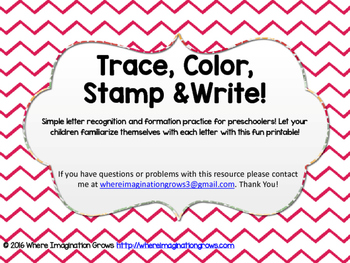 Trace Color Stamp Write Abc Printable For Preschoolers Tpt