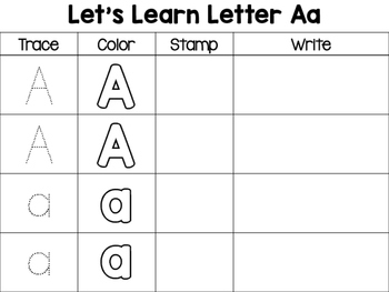 Trace, Color, Stamp, Write ABC Printable for Preschoolers