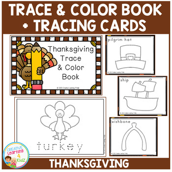 Trace & Color Thanksgiving Book + Tracing Cards Fine Motor Skills