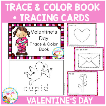 Trace & Color Valentine's Day Book + Tracing Cards Fine Mo