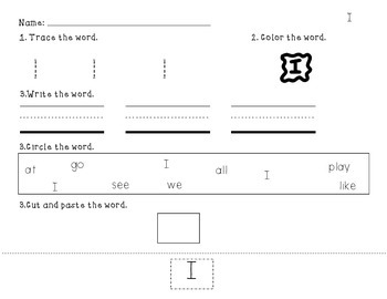 Trace, Color, Write, Find, Cut and Paste Sight Word Pack 1