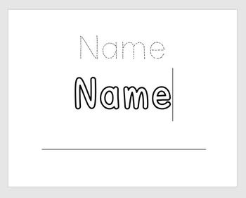 Trace, Color, Write Name Activity (EDITABLE)