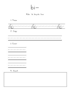 Trace, Copy, Cover for O-G, cursive, Latin prefixes, roots, and suffixes
