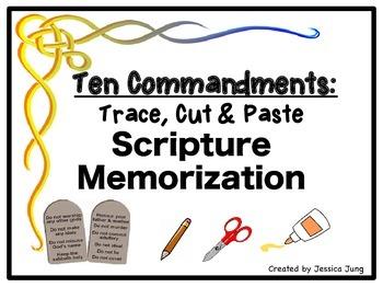 Ten Commandments: Trace, Cut & Paste Scripture Memorization