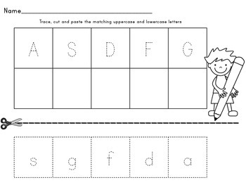 Trace, Cut and Paste Letter Matching Worksheets