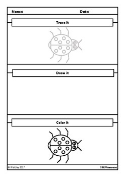 Trace, Draw, Color Insects Worksheets, Art, Science