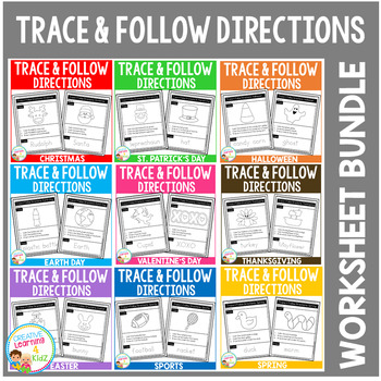 Trace Follow Directions Worksheets Bundle By Creative Learning 4 Kidz