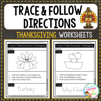 Trace & Follow Directions Worksheets: Bundle