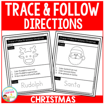 Trace & Follow Directions Worksheets: Christmas