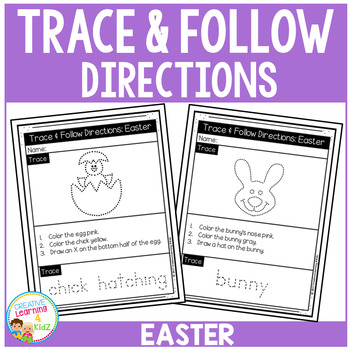 Trace & Follow Directions Worksheets: Easter