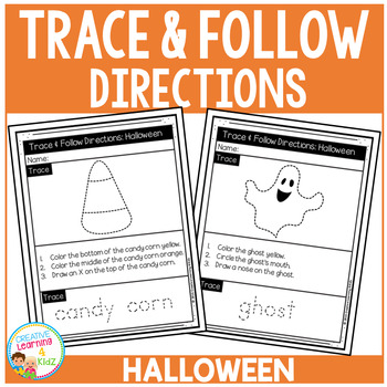 Trace & Follow Directions Worksheets: Halloween