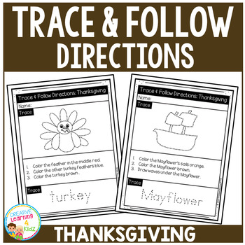 Trace & Follow Directions Worksheets: Thanksgiving