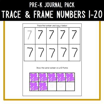 PreK Journal Pack - Trace & Frame Numbers 1-20