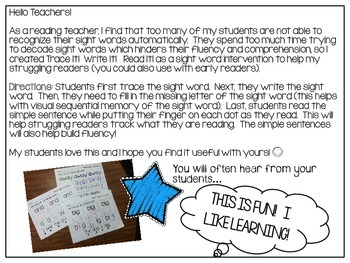 Trace It! Write It! Read It! Sight Word Intervention *Primer List*
