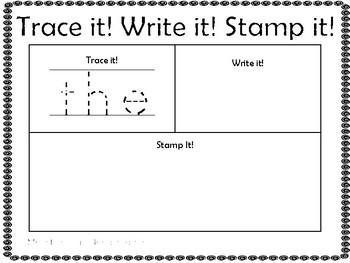 Trace It! Write It! Stamp It! Kindergarten Sight Word Freebie Sample Pack
