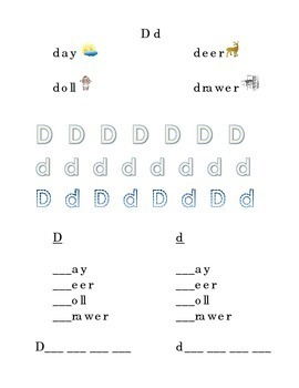 Trace Letter D d Sight Words Pictures Kindergarten