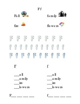 Trace Letter F f Sight Words Pictures Kindergarten