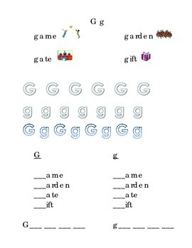 Trace Letter G g Sight Words Pictures Kindergarten
