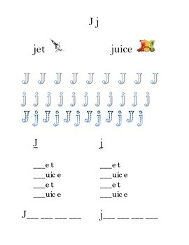 Trace Letter J j Sight Words Kindergarten by Word Masters