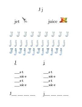 Trace Letter J j Sight Words Pictures Kindergarten