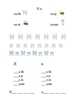 Trace Letter N n Sight Words Pictures Kindergarten Alphabe