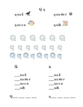 Trace Letter Q q Sight Words Pictures Kindergarten