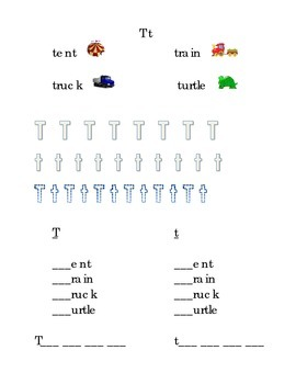 Trace Letter T t Sight Words Pictures Kindergarten Alphabe