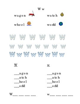 Trace Letter W w Sight Words Pictures Kindergarten Alphabet Recognition