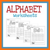Trace Letters A-Z, Printable Alphabet Worksheet, ABC Activity