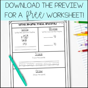 Trace, Make, Write, and Draw!  Low-Prep CVC Work Mats for Year-Round Centers