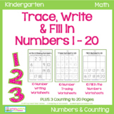 Trace Numbers 1-20, Write and Fill In the Numbers, too!