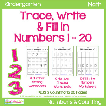 trace numbers 1 20 write and fill in the numbers too tpt. Black Bedroom Furniture Sets. Home Design Ideas